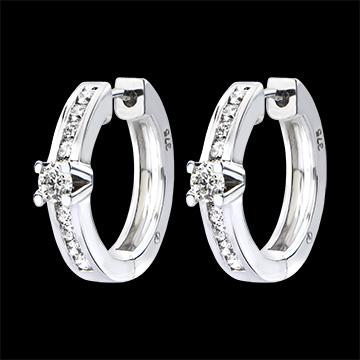Boucles d'Oreilles Origine - Serti Rail - or blanc 18 carats et diamants