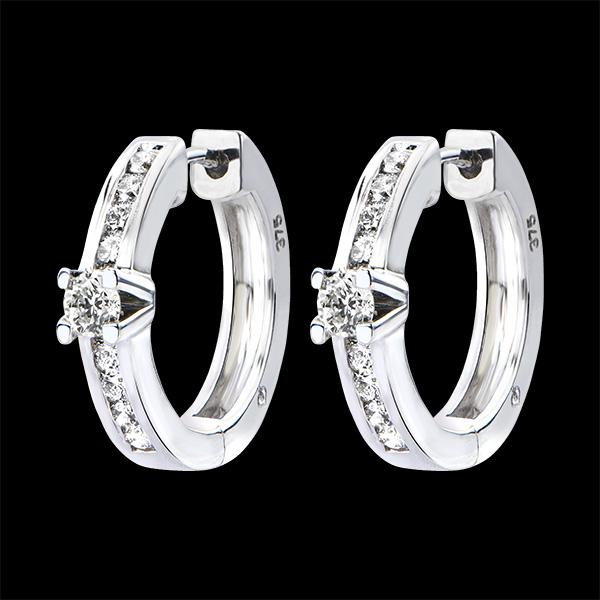Boucles d'Oreilles Origine - Serti Rail - or blanc 9 carats et diamants