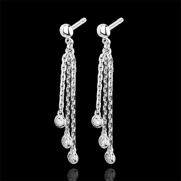 Boucles d'oreilles pendants cascade or blanc 9 carats