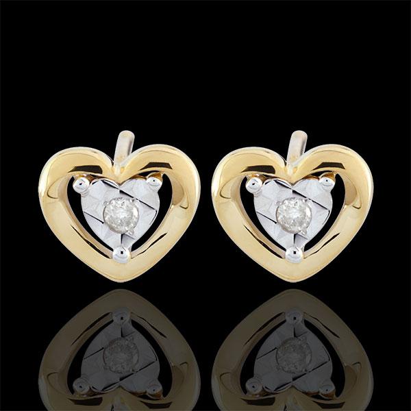 Boucles d'oreilles Petits coeurs - or jaune 9 carats