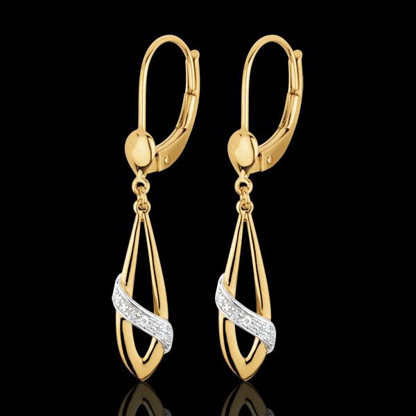 Boucles d'oreilles poésie deux ors et diamants - or blanc et or jaune 18 carats