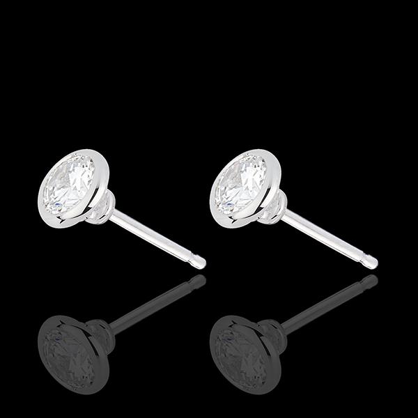 Boucles d'oreilles Poupée Solitaire or blanc 18 carats