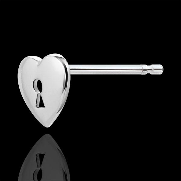 Boucles d'oreilles Précieux Secret - Coeur - or blanc 9 carats