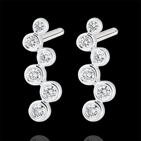 Boucles d'oreilles puces Fraîcheur - Perles de Rosée - or blanc 9 carats et diamants