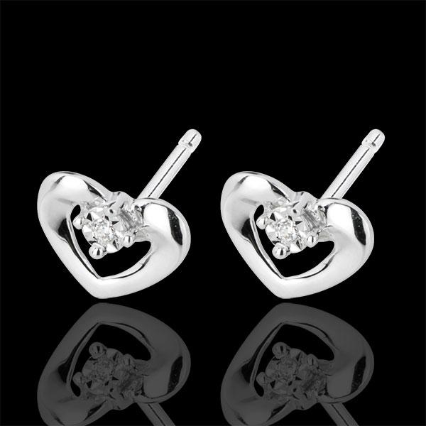 Boucles d'oreilles puces jolis coeurs or blanc 18 carats et diamants