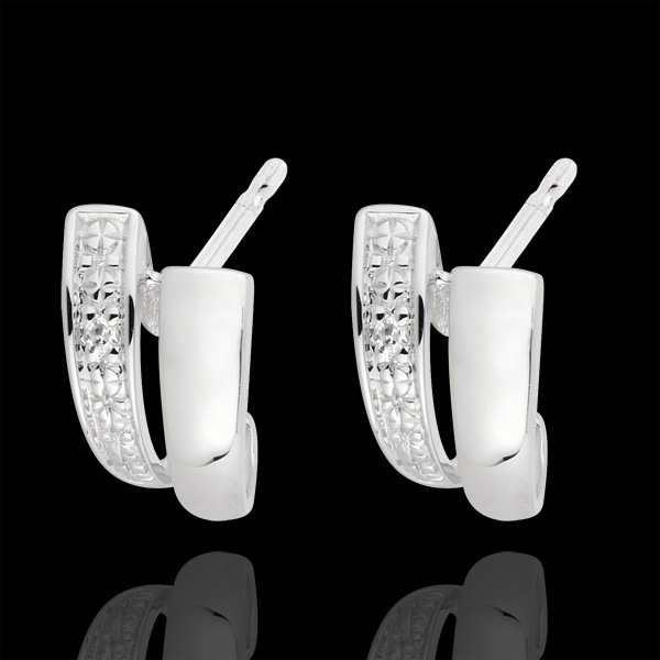 Boucles d'oreilles sagesse or blanc 18 carats diamants