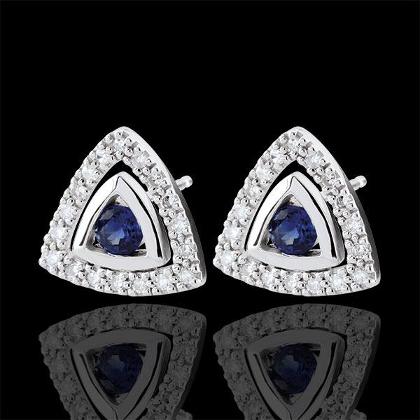 Boucles d'oreilles Salma - saphirs bleus - or blanc 9 carats