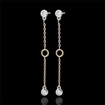 Boucles d'oreilles Satine or blanc et or jaune 9 carats