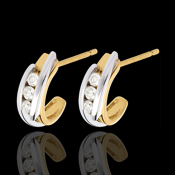 boucles d'oreilles trilogie bipolaire - 0.3 carats - 6 diamants - or blanc et or jaune 18 carats