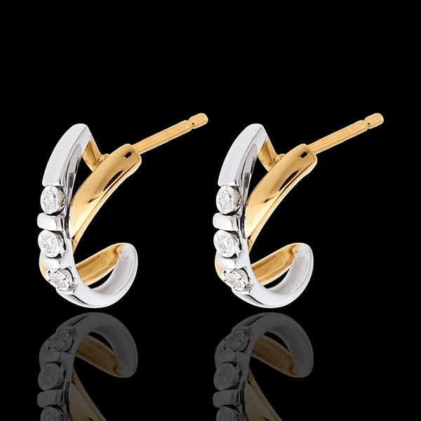 Boucles d'oreilles trilogie cerceau - 6 diamants - or blanc et or jaune 18 carats