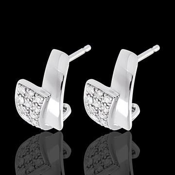 Boucles d'oreilles tropique or blanc 18 carats pavées - 24 diamants