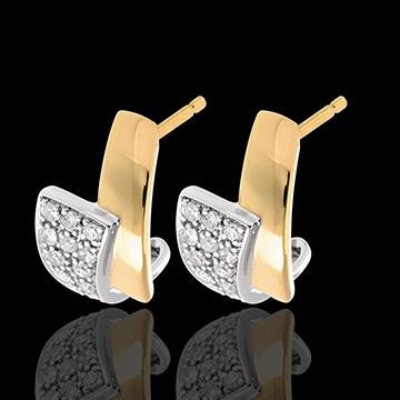 Boucles d'oreilles Tropique pavées - 24 diamants - or blanc et or jaune 18 carats