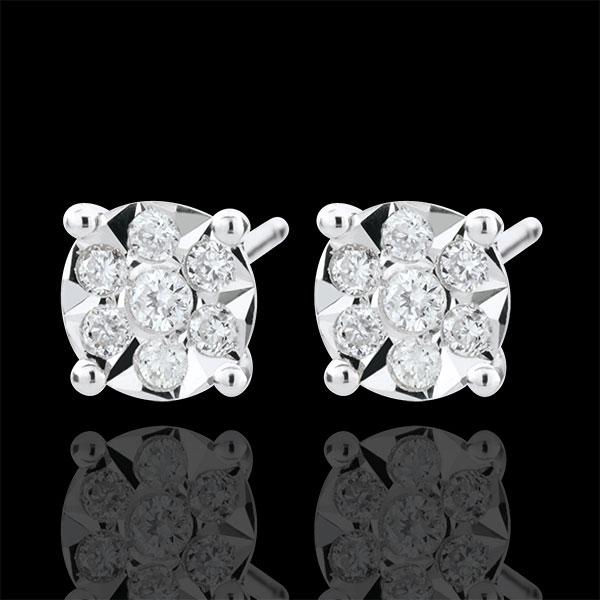 Boucles d'oreilles Venise - puces - 14 diamants - or blanc 9 carats