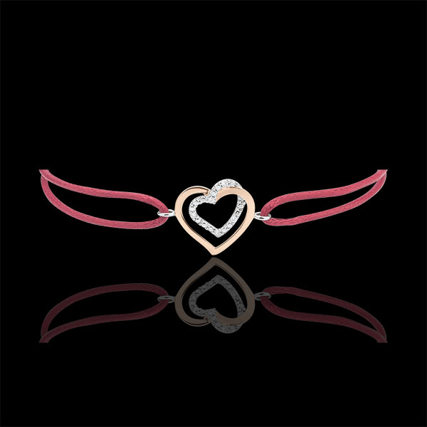 Bracciale Cuori Abbracciati - Oro Rosa e Oro Bianco - 9 carati - Diamanti - Cordoncino rosso