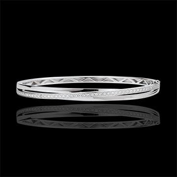 Bracciale Rigido Saturno Diamante - Oro bianco - 18 carati