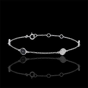 Bracciale Miriade di stelle - Oro Bianco - 9 carati -Diamanti Bianchi e Diamanti Neri