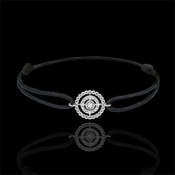 Bracciale Fior di Sale - Cerchio - Oro bianco - 9 carati - Diamanti - Cordoncino nero