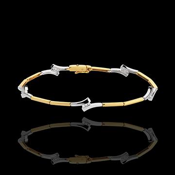 Bracciale Spighe - Oro bianco e Oro giallo - 18 carati - 15 Diamanti - 0.15 carati