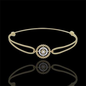 Bracciale Fior di Sale - Cerchio - Oro giallo - 9 carati _ Diamanti - Cordoncino marrone