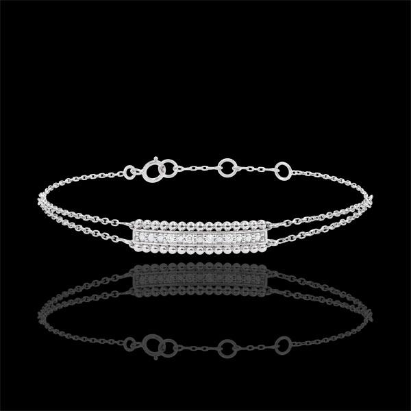 Bracciale Fior di Sale - due anelli - Oro bianco - 9 carati - Diamanti