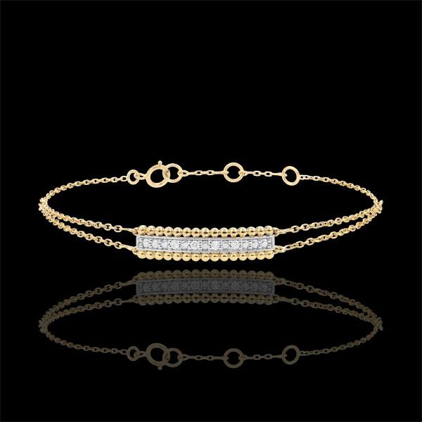 Bracciale Fior di Sale - due anelli - Oro giallo e Oro bianco - 18 carati - Diamanti