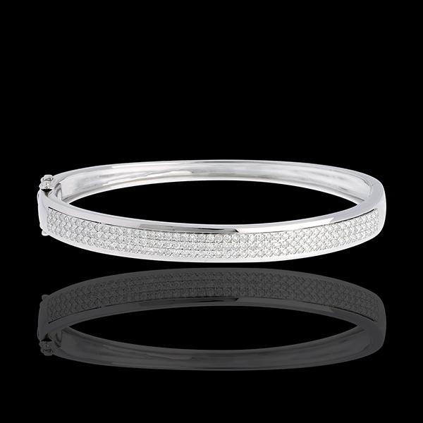 Bracciale Giunco Costellazione Astrale - Oro bianco - 18 carati - 3 file di Diamanti -144 Diamanti - 1.01 carati