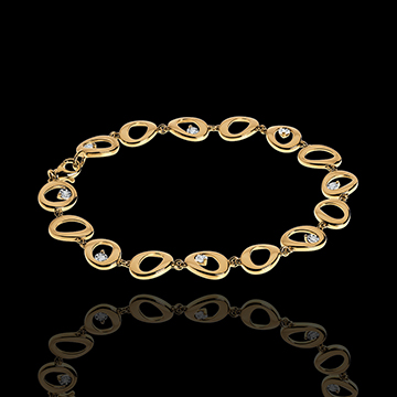 Bracciale a Nappine - Oro giallo - 18 carati - 8 Diamanti - 0.12 carati