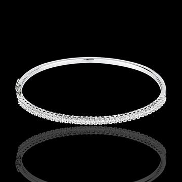 Bracciale rigido - Oro bianco semi pavé - 18 carati - 37 Diamanti - 1 carato