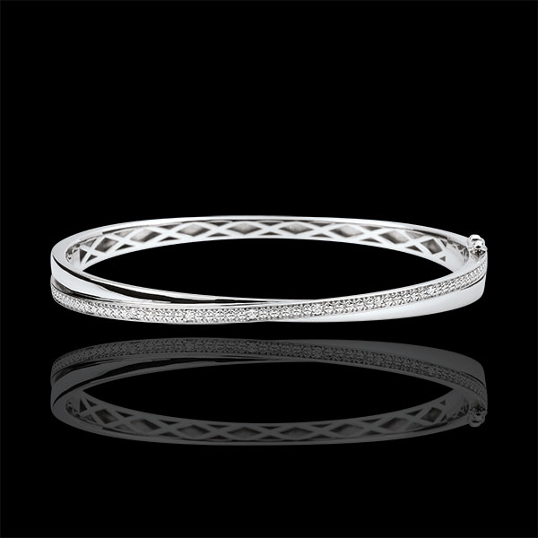 Bracciale Rigido Saturno Duetto - Diamanti - Oro bianco - 9 carati