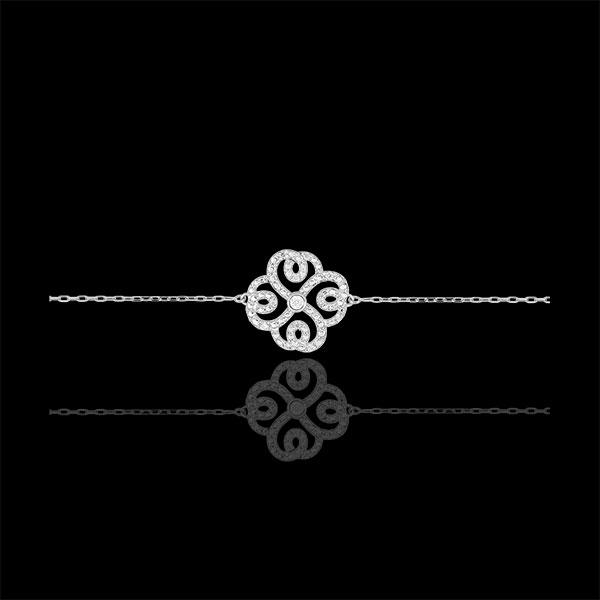 Bracciale Solitario Destino - Quadrifoglio Arabesco - Oro bianco - 9 carati - Diamanti