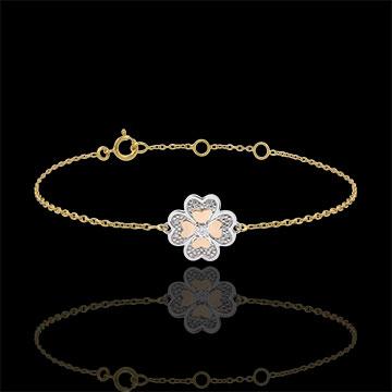 Bracciale Solitario Freschezza -Quadrifoglio Splendente - 3 ori - 9 carati - Diamante