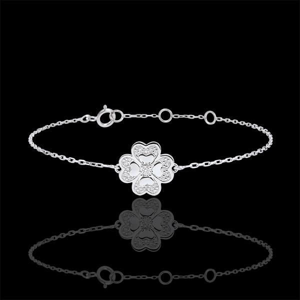 Bracciale Solitario Sboccio - Quadrifoglio Splendente - Oro bianco - 9 carati - Diamante