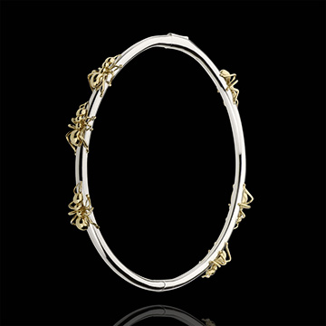 Bracelet Imaginary Walk - Dance of the Ants - white gold and yellow gold