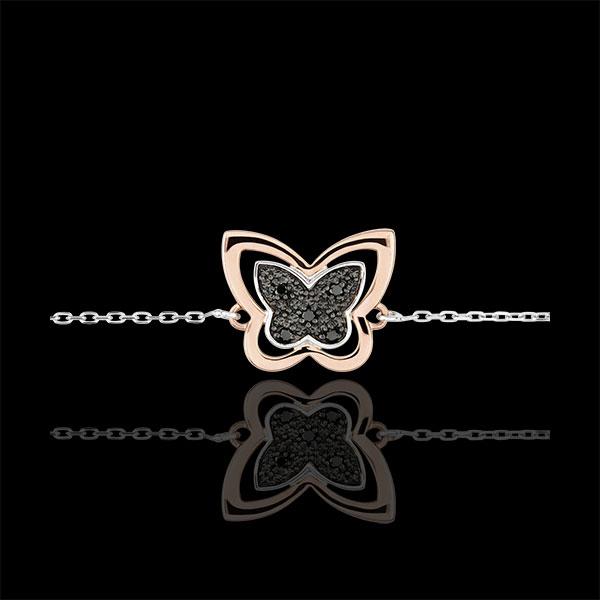 Bracelet Balade Imaginaire - Papillon Lunaire - or blanc et or rose 18 carats et diamants noirs