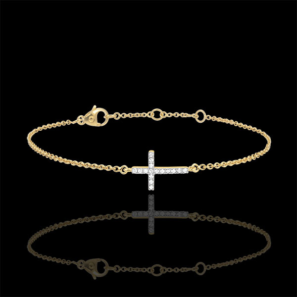 Bracelet Croix or jaune 9 carats et diamants
