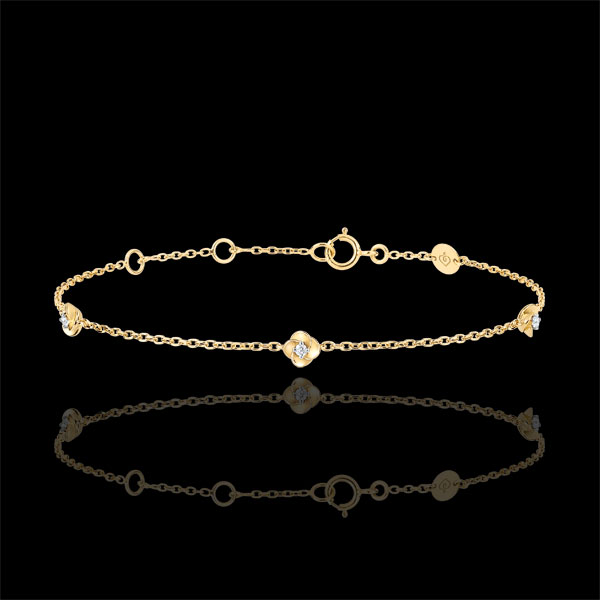 Bracelet Eclosion - Couronne de Roses - diamants - or jaune 9 carats