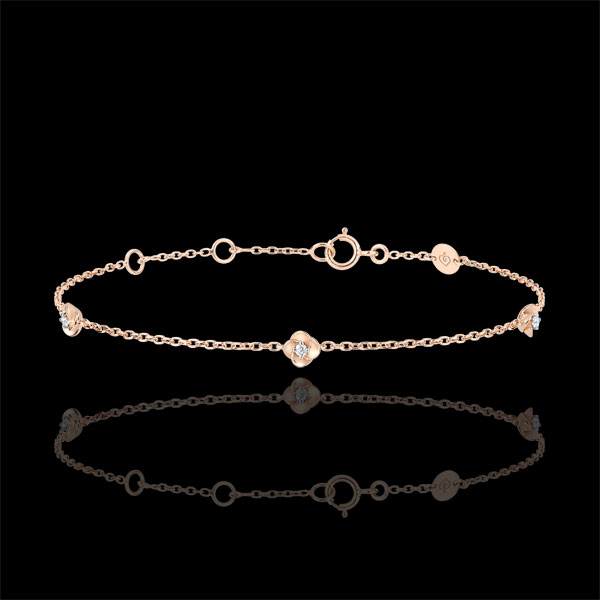 Bracelet Eclosion - Couronne de Roses - diamants - or rose 18 carats