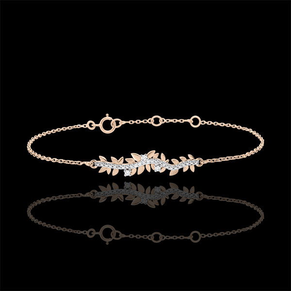 Bracelet Enchanted Garden - Foliage Royal - Pink gold and diamonds - 9 carat