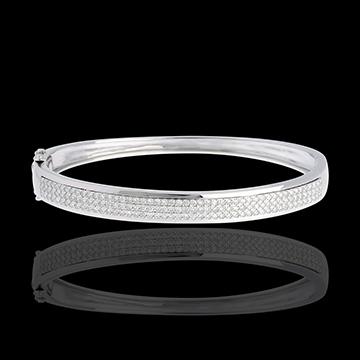 Jonc Constellation - Astrale - 3 rangs de diamants - 1.01 carats - 144 diamants - or blanc 18 carats