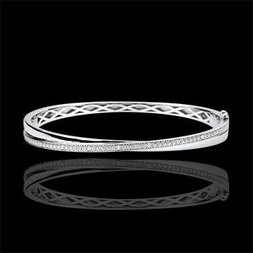 Bracelet Jonc Saturne Duo - diamants - or blanc 9 carats