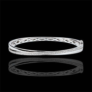 Bracelet Jonc Saturne Duo - diamants - or blanc 9 carats