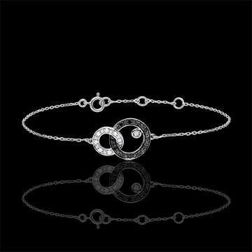 Bracelet or blanc 9 carats Clair Obscur - Duo de Lunes - diamants noirs et blancs