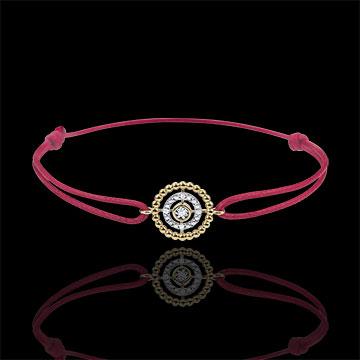 Bracelet Fleur de Sel - cercle - or jaune 9 carats - cordon rouge
