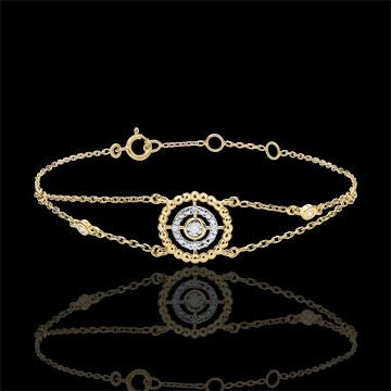 Bracelet Fleur de Sel - cercle - or jaune 9 carats et diamants