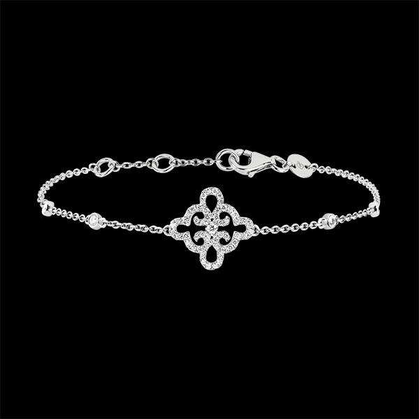 Bracelet Fraicheur - Fleur - or blanc 18 carats et diamants