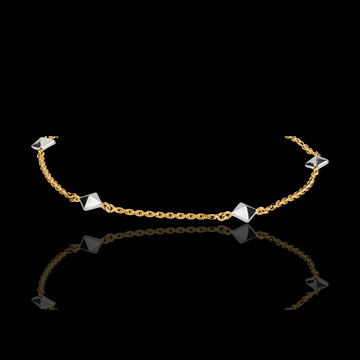 Bracelet Genèse - Diamants bruts bicolore - or blanc 9 carats