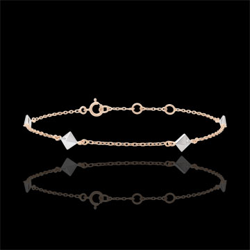 Bracelet Génèse - Diamants Bruts - or blanc et or rose 9 carats