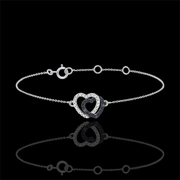 White gold bracelet with White diamonds and black diamonds - Hearts Accomplices - 9 carats