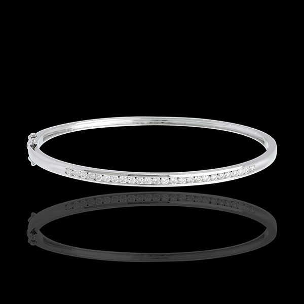 Bracelet Jonc barrette - or blanc 18 carats - 0.75 carats - 25 diamants