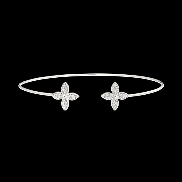Bracelet Jonc Ouvert Éclosion - Double Chance - or blanc 9 carats et diamants